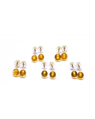 Lot of 5 round beads Baltic amber earrings